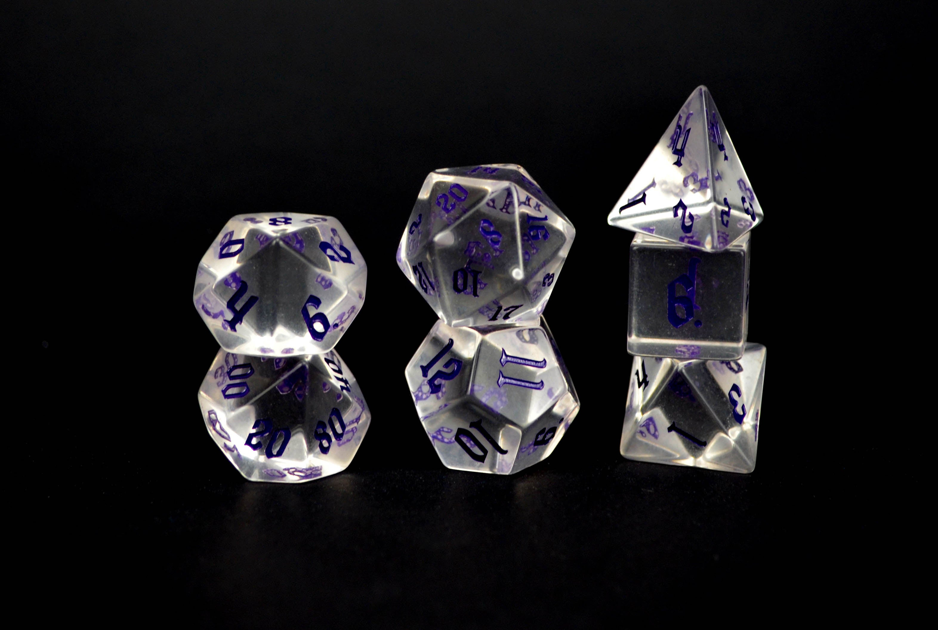 Crown Crystal Purple Script Set of 7