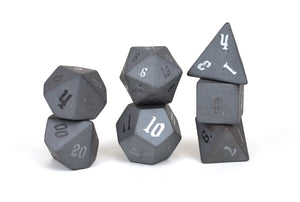 Raised Hematite Semi Precious Stone Dice Set of 7