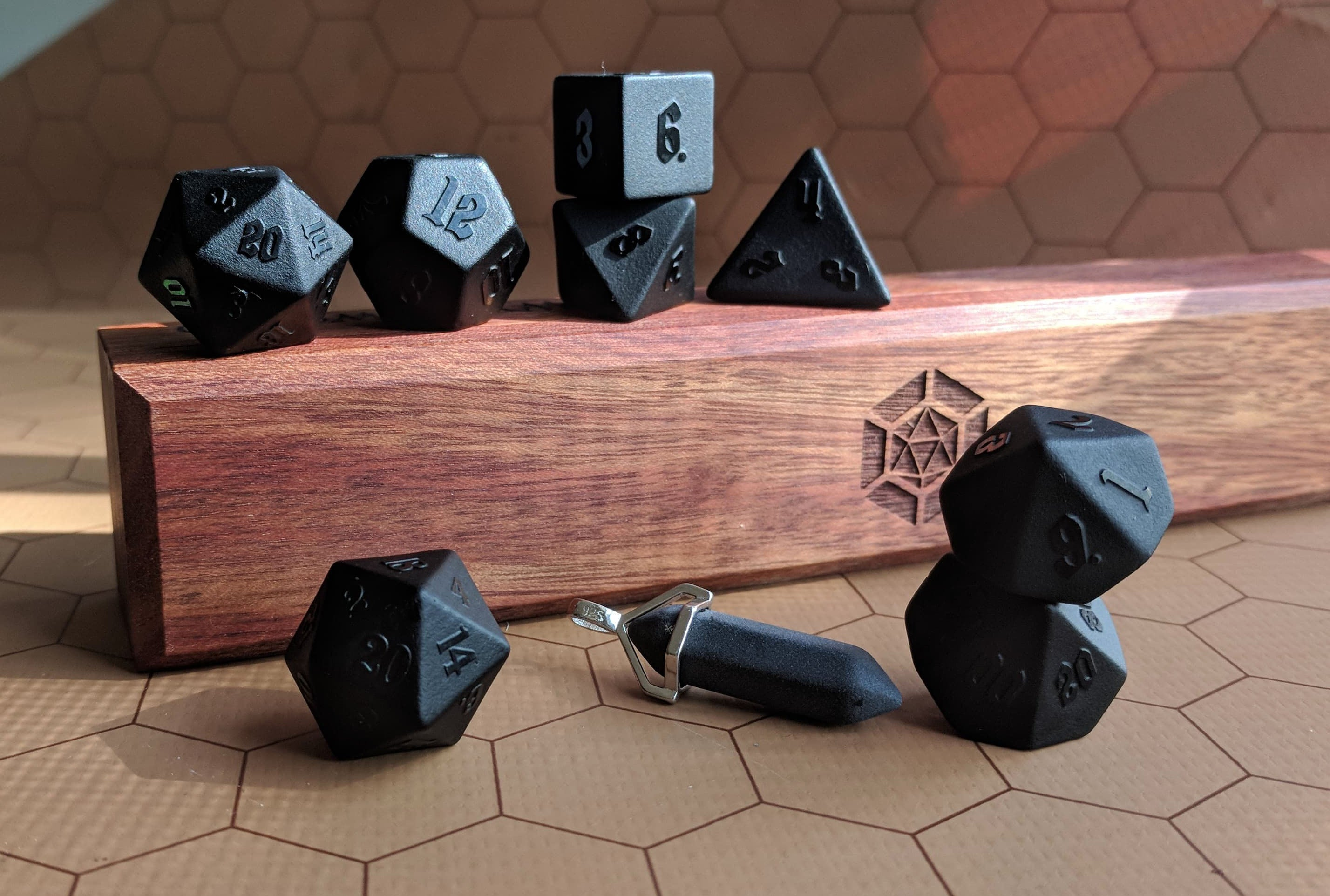 Raised Obsidian Semi Precious Stone Dice Set with Wyrmwood Vault