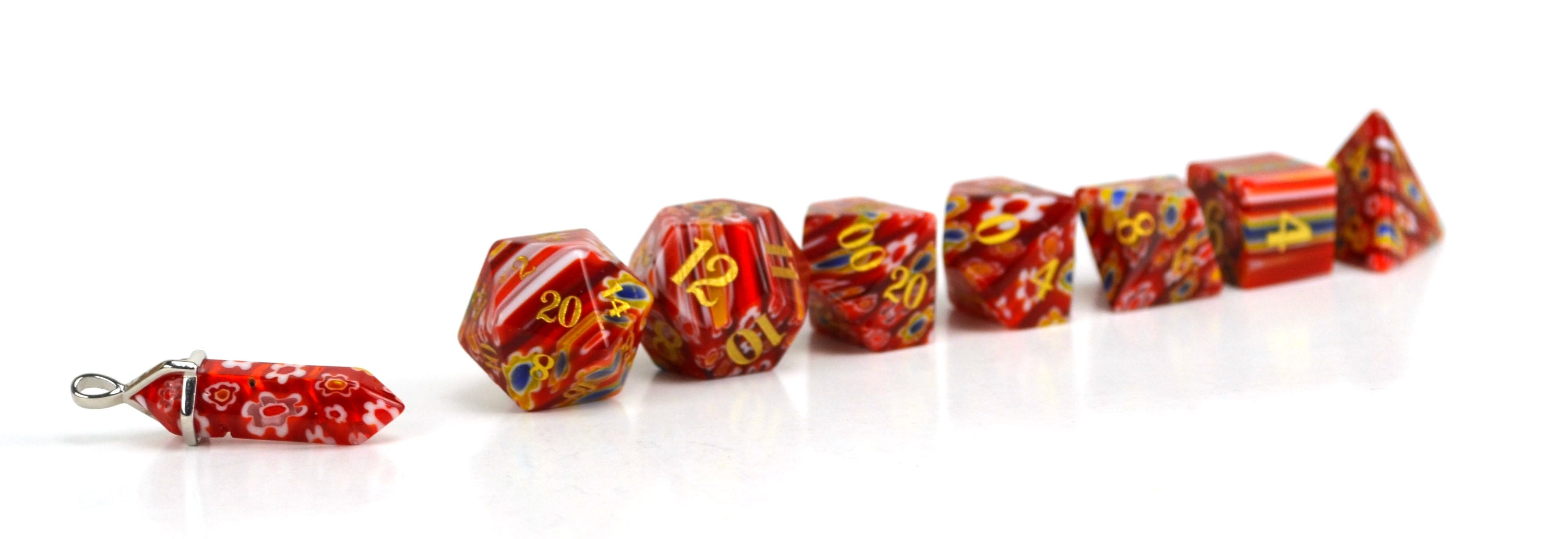 Poppy Candy Glass Dice (JD) Set of 7