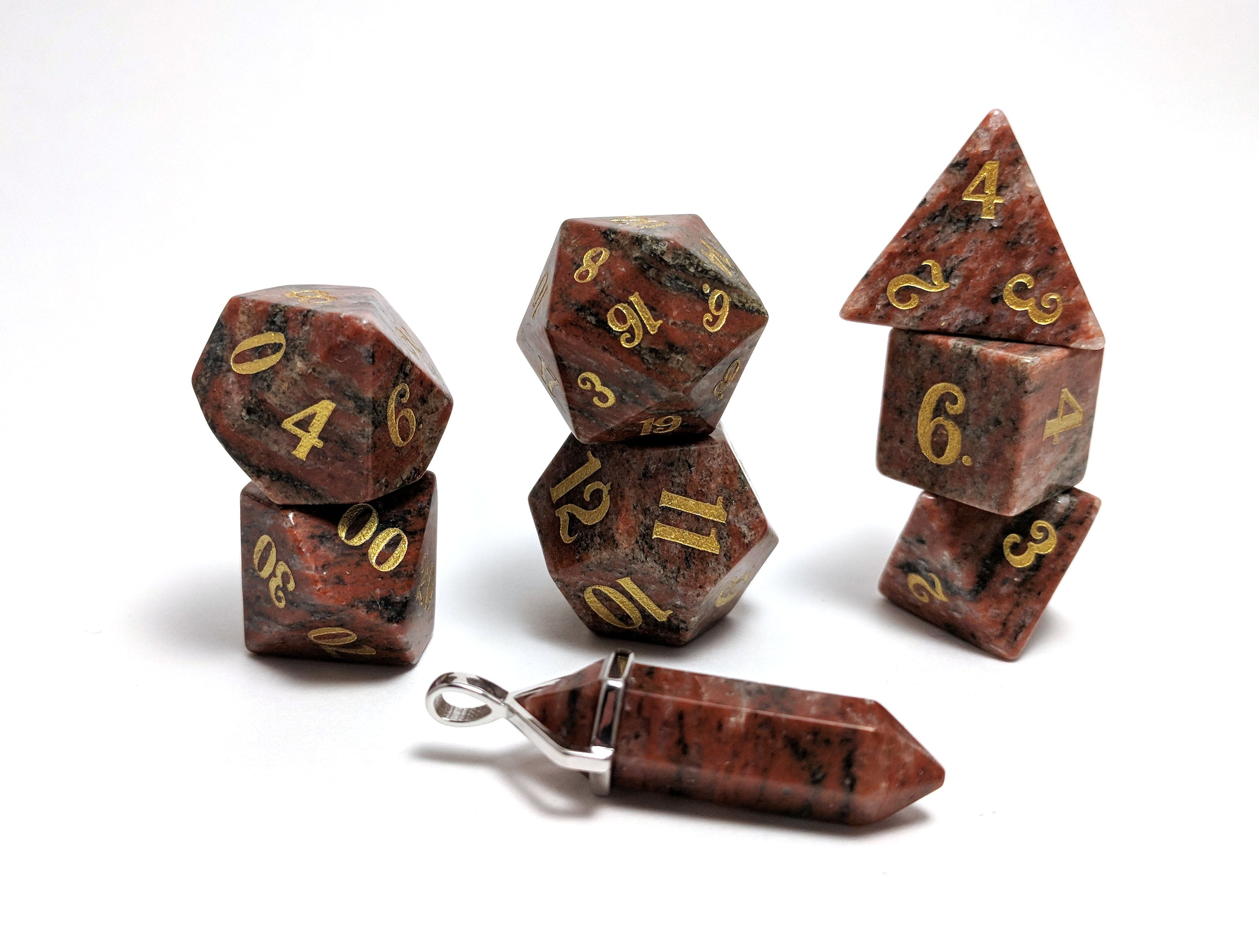 Red Granite Semi Precious Stone Dice Set