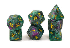 Ruby in Zoicite Semi Precious Stone Dice Set