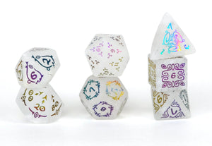 Ionized Sylvan Glyphic Raised Clear Quartz Dice Set