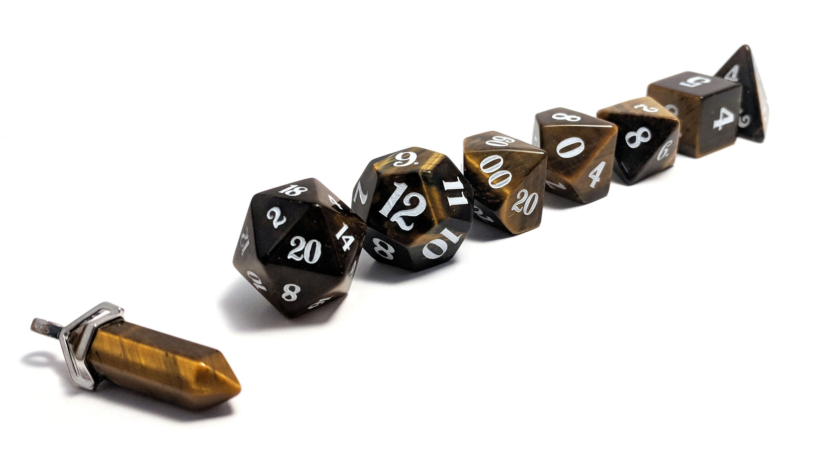 Tiger's Eye Hand Carved Semi-Precious Stone Dice Set