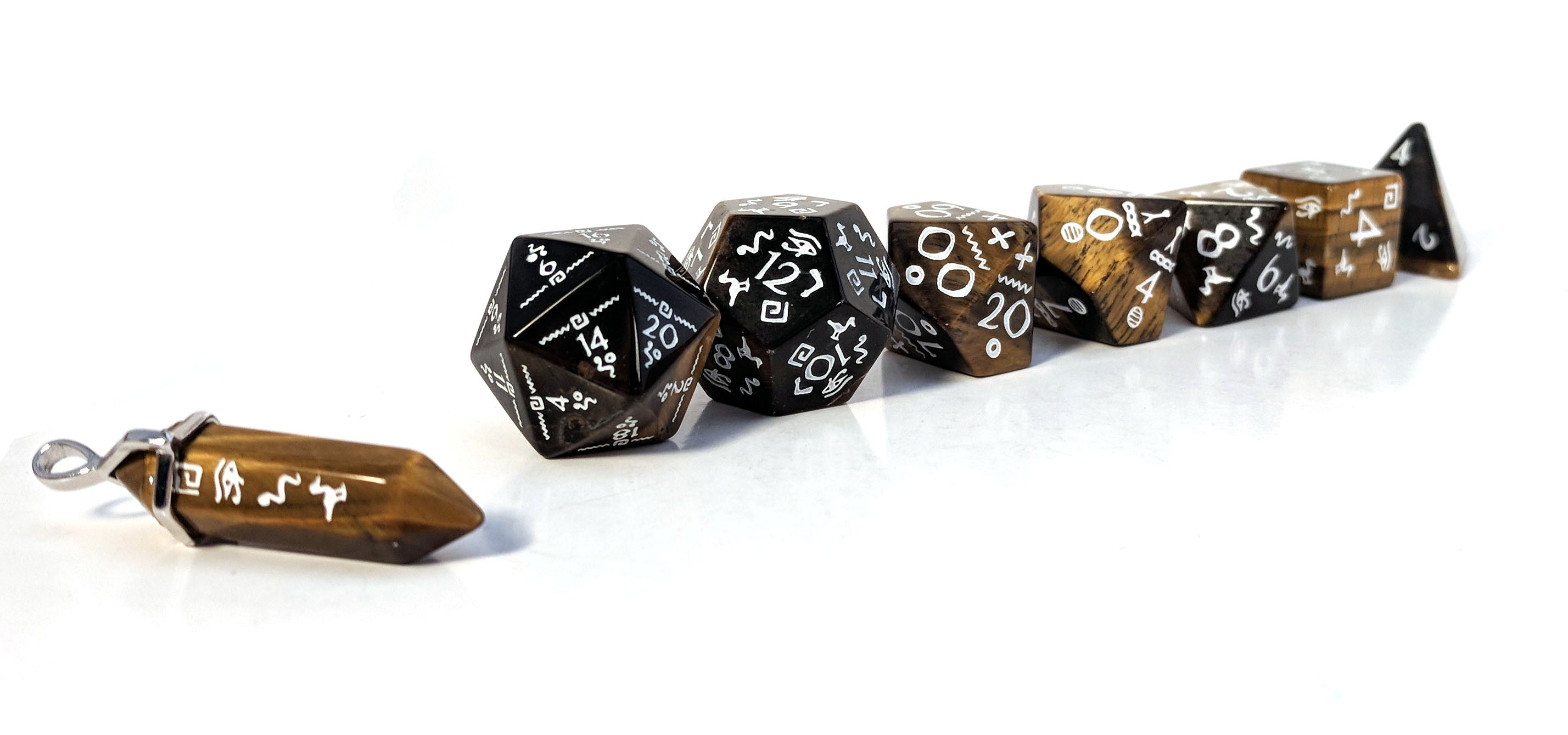 Hyro Tiger's Eye Glyphic Semi Precious Stone Dice Set