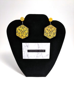 D20 Large Drop Earrings by Forever Grow