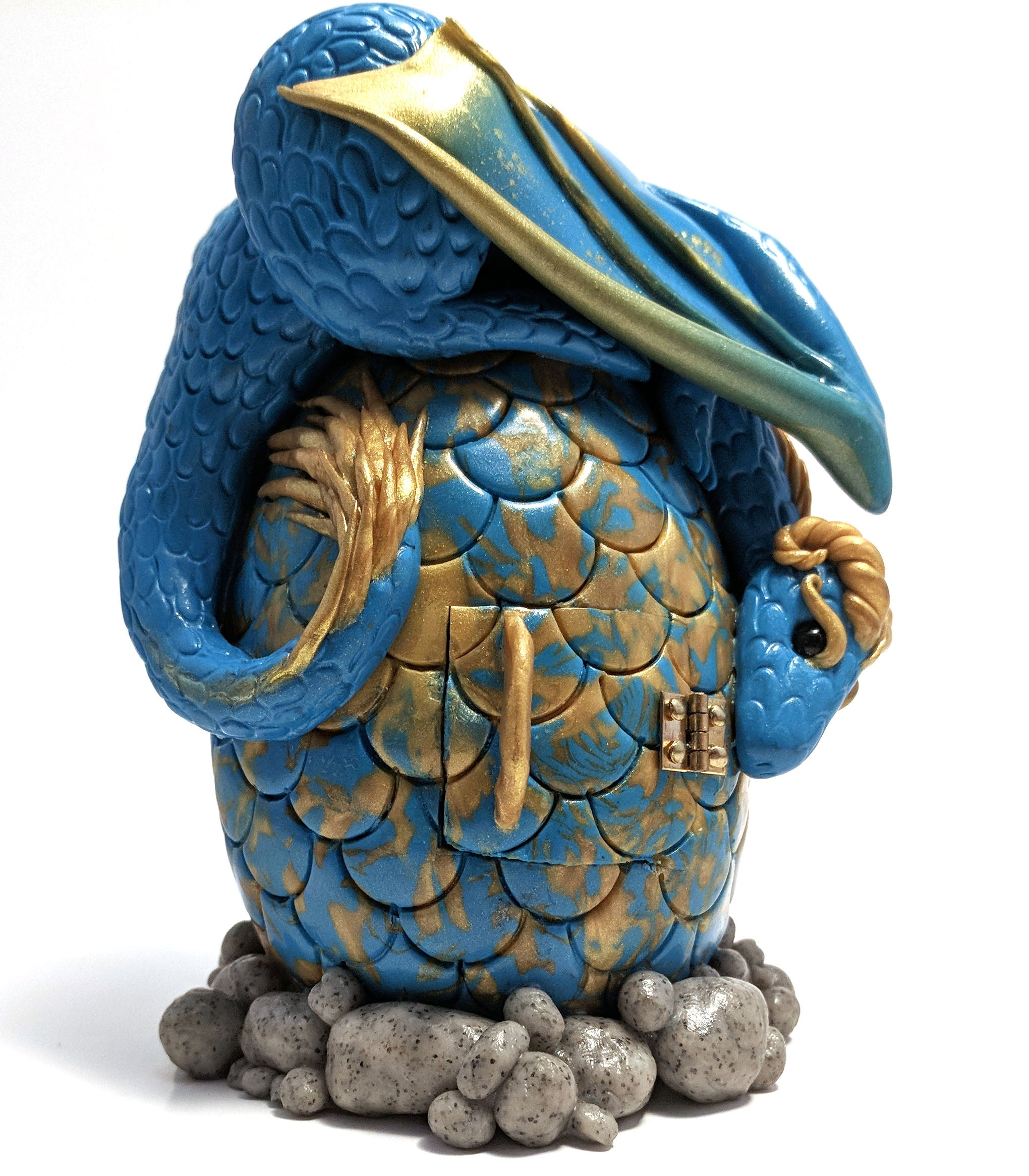 Blue and Gold Oasis Dragon Dice Set Holder by Hippocampus Creations