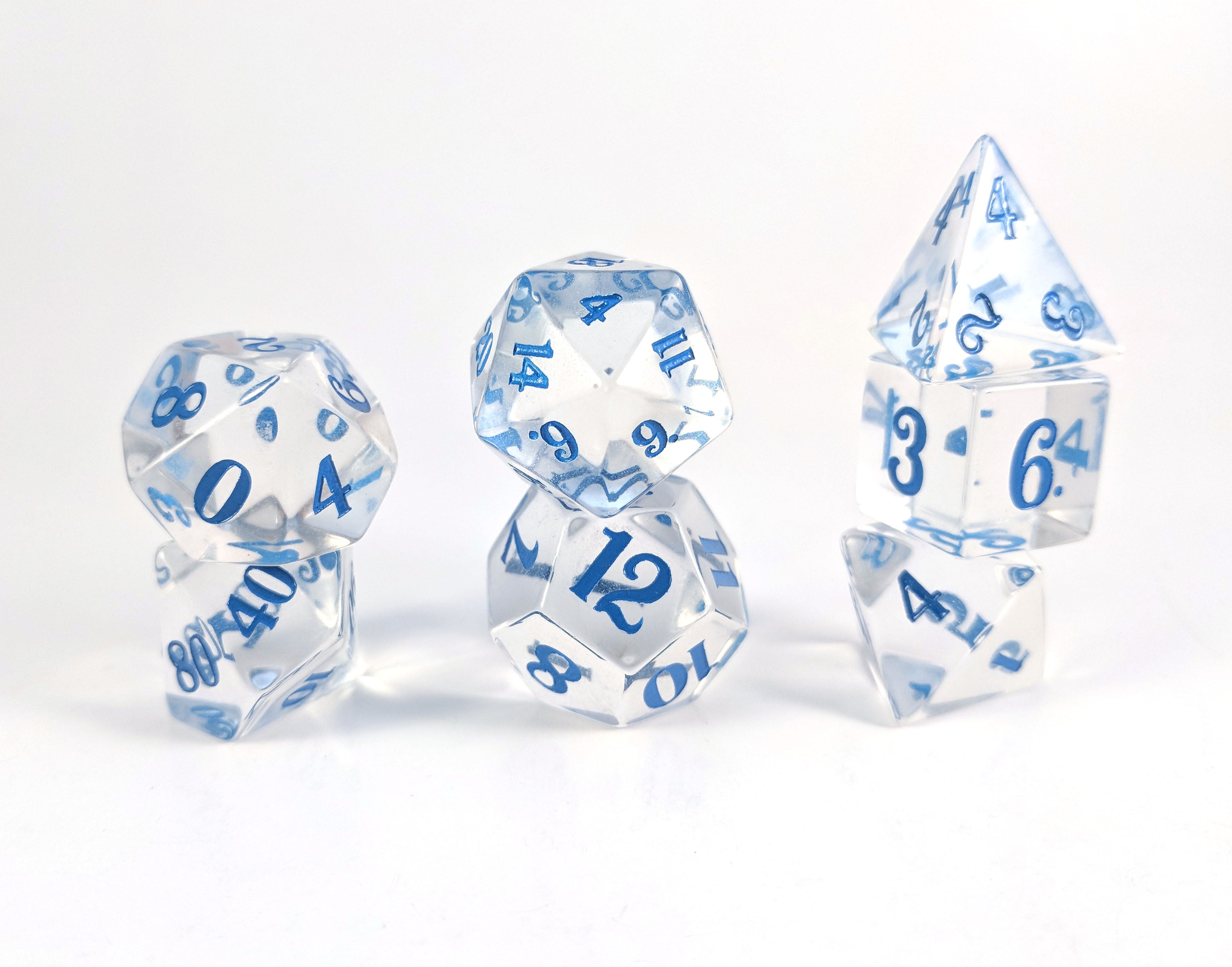 Optically Clear Crystal Blue Script Dice Set