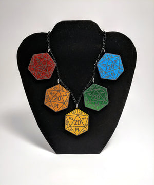 Large D20 Rainbow Necklace by Forever Grow