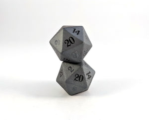 Raised Hematite Semi Precious Stone D20 Dice