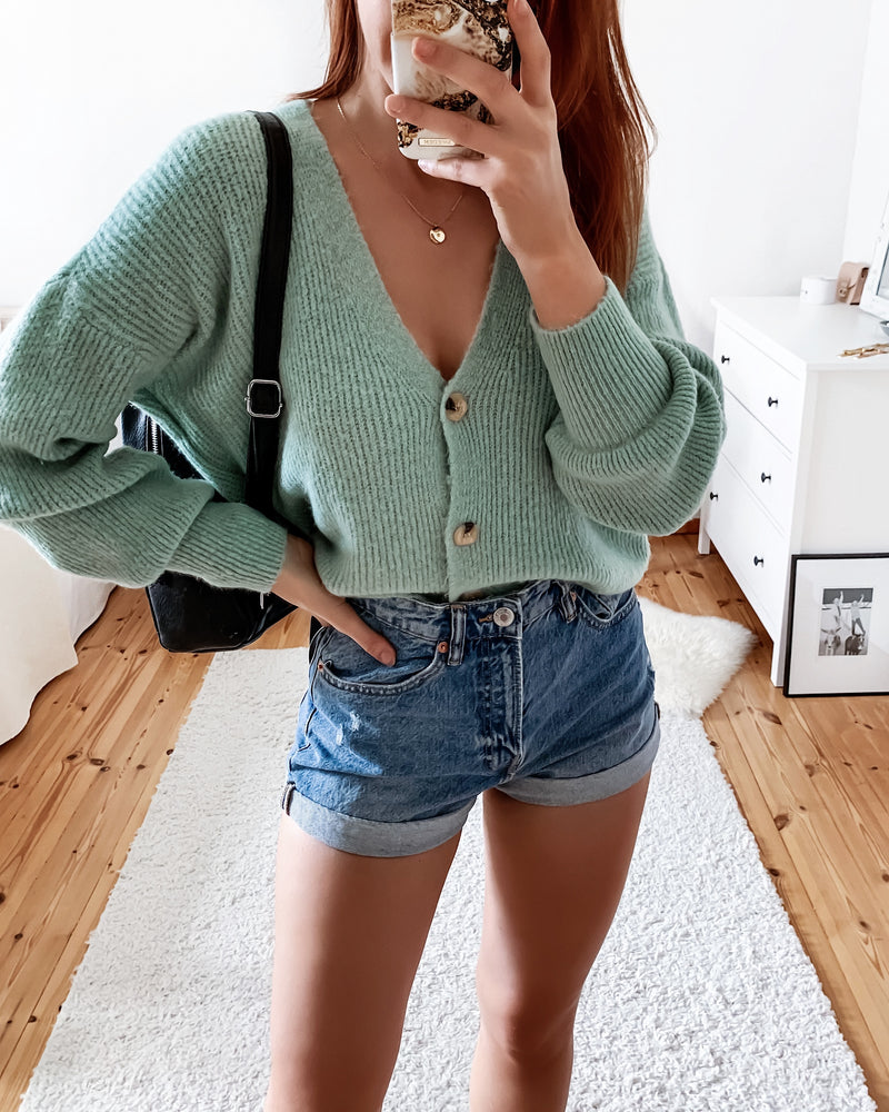 Soft cardigan in turquoise