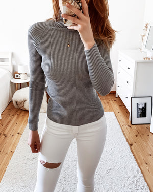 Load image into Gallery viewer, Turtleneck sweater in gray & black