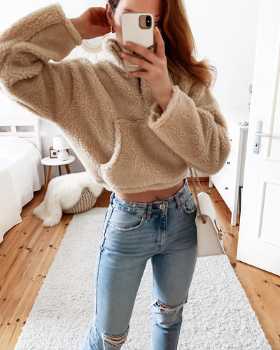 Teddy Pullover in Beige