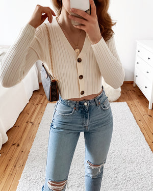 Off shoulder top with buttons