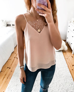 Top with lace in pink, white & black in L