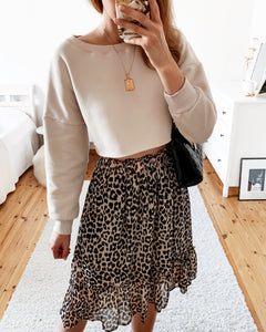 Crop Sweatshirt in Beige