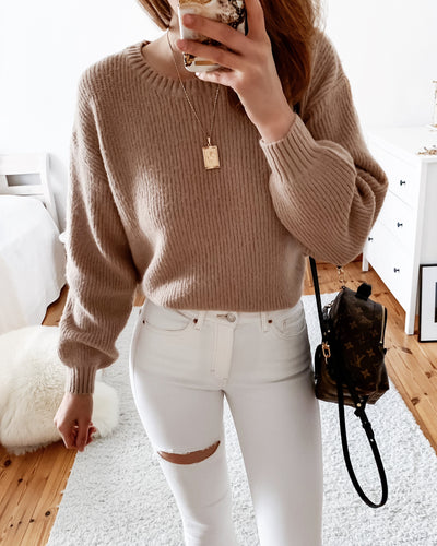 Strickpullover in Beige