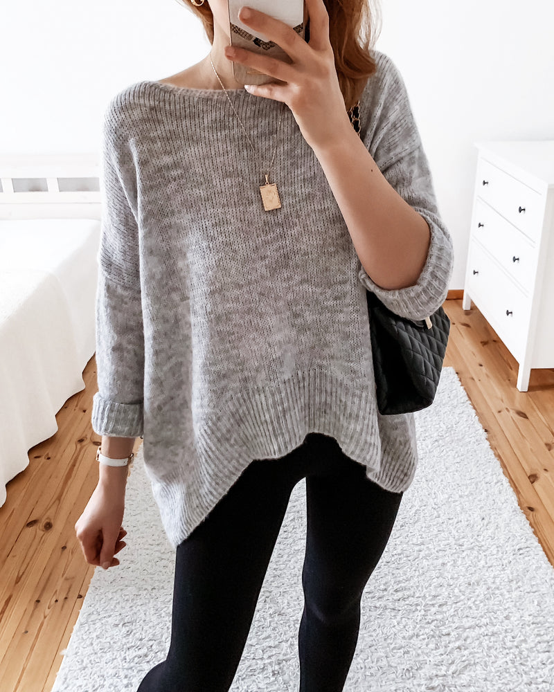 Knitted sweater in cream & gray