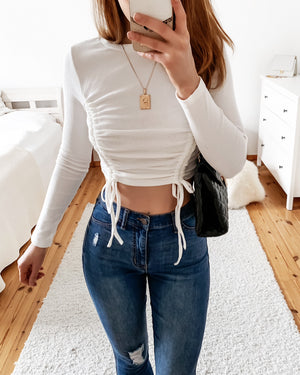 Long sleeve crop top with ruffles