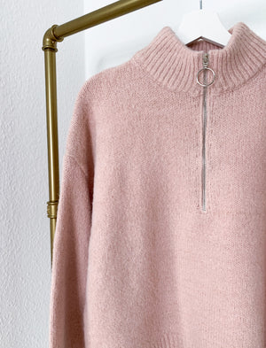 Load image into Gallery viewer, Sweater with zipper in pink & beige