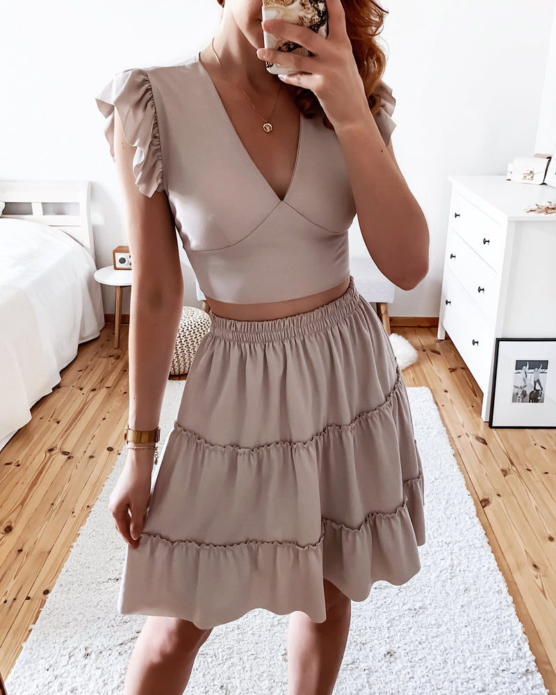 2-piece top with matching skirt