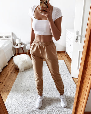 Soft joggers in taupe