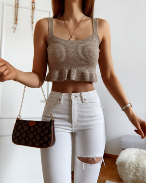 Strick Tank Top in Beige