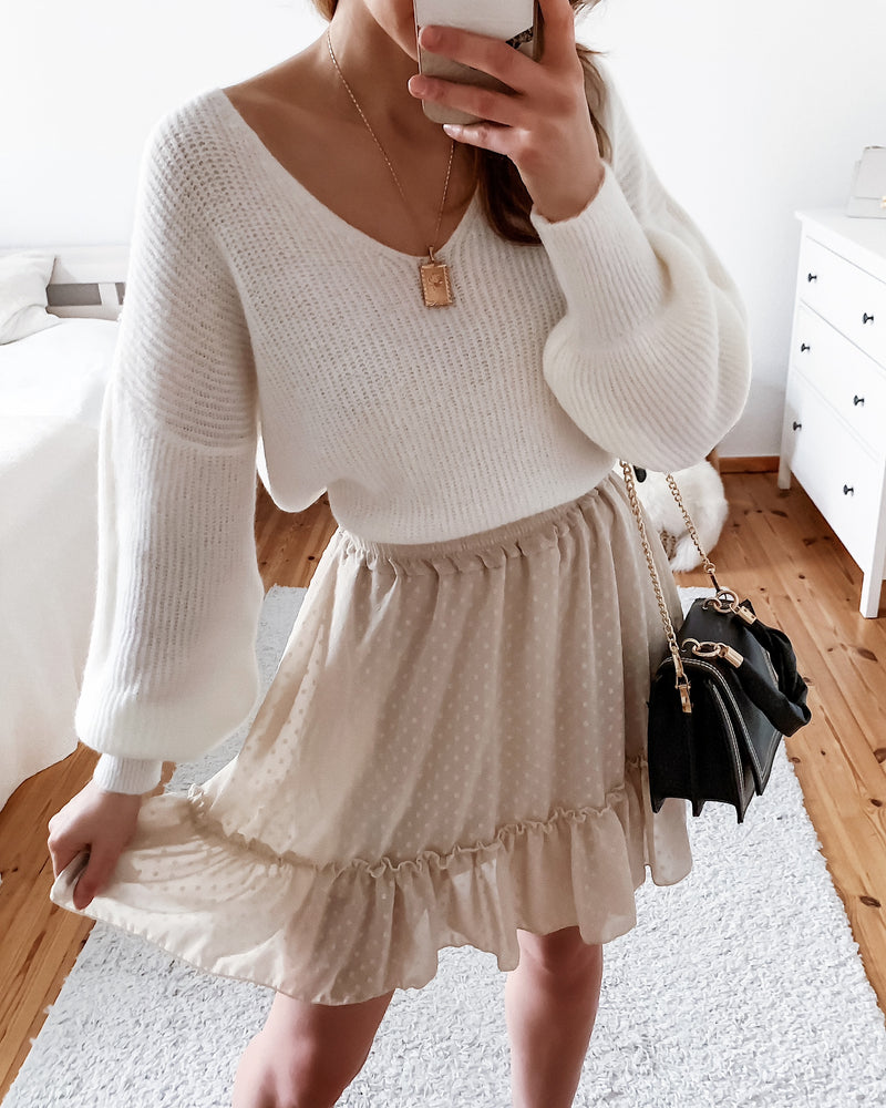 Mini skirt with dots in beige