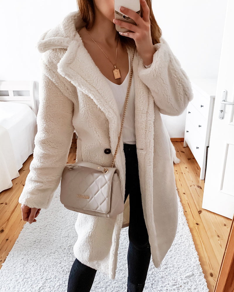 Teddy coat in cream white