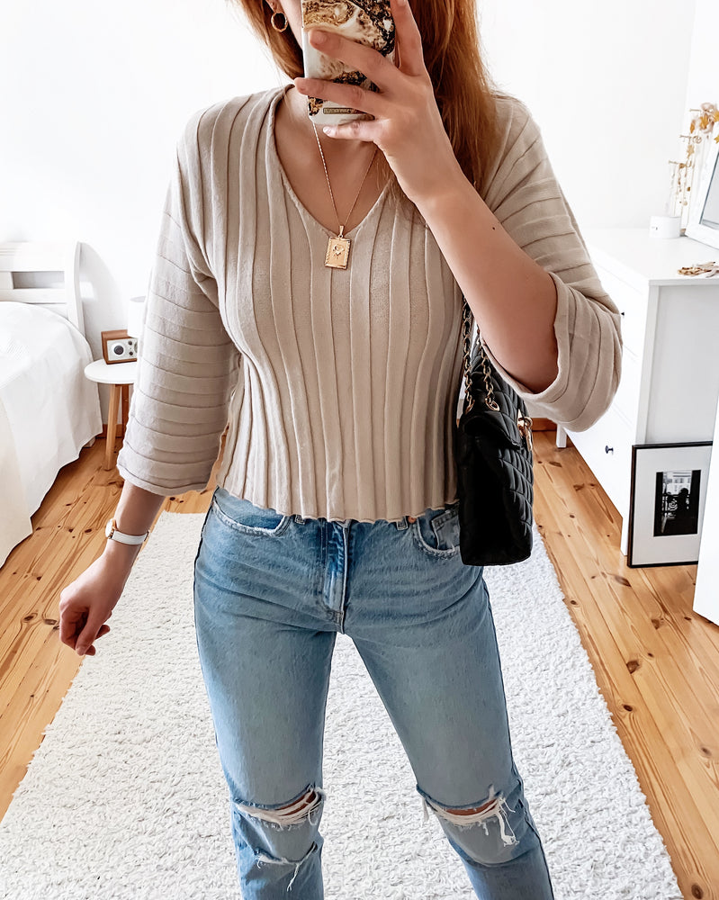 Rib knit sweatshirt in sand