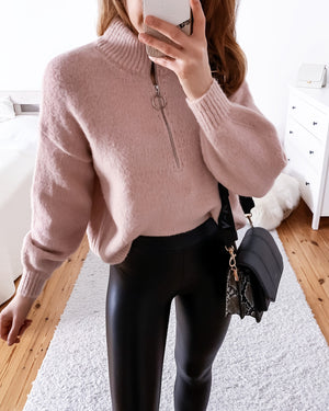 Sweater with zipper in pink & beige