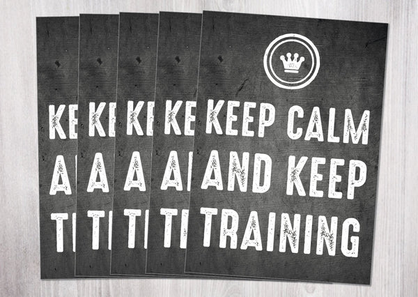 5 Grußkarten im Set: Keep Calm and keep training - Individuelle Einladung