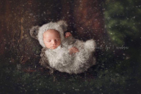 Panda Bear Furry Bonnet & Footed Romper Set - FleurFotoKnits - Newborn & Sitter Photography Props