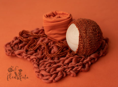 Burnt Sienna Studio Set - FleurFotoKnits - Newborn & Sitter Photography Props