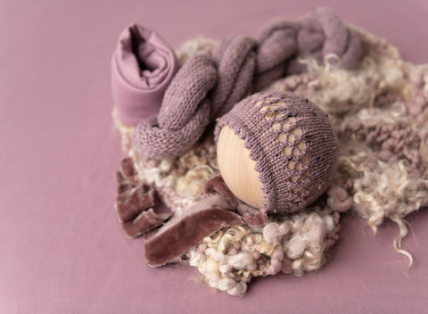 Dusty Lavender Brianna Tweed - FleurFotoKnits - Newborn & Sitter Photography Props