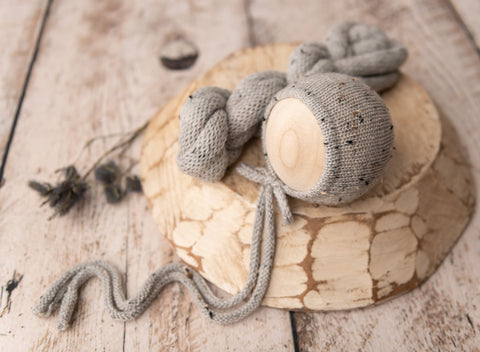 Grey Tweed Logan Bonnet & Wrap set - FleurFotoKnits - Newborn & Sitter Photography Props