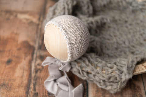Arden Newborn Bonnet & Layer Set - Grey - FleurFotoKnits - Newborn & Sitter Photography Props