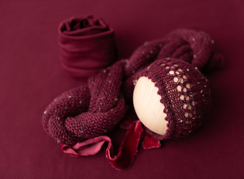Merlot Tweed Brianna Set - FleurFotoKnits - Newborn & Sitter Photography Props