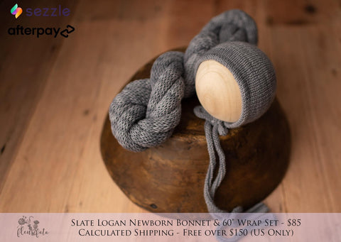 "Slate Logan newborn bonnet with 60"" wrap"