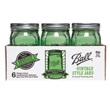 "Caja con 6 frascos Ball ""Vintage Style Series"" De 1 Quart Boca Ancha Color Verde"