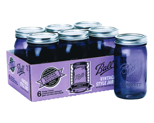 "Caja Con 6 Frascos Ball ""Vintage Style Series"" De 32oz / 1 Quart Color Morado."
