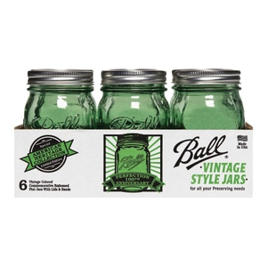 "Caja con 6 Frascos Ball ""Vintage Style Series"" 1 Pinta Boca Regular Color Verde."