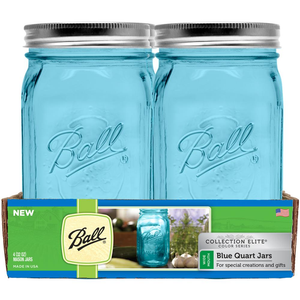 "Caja Con 4 Frascos Ball ""Collection Elite Color Series"" 1 Quart / 32 oz Boca Ancha Azul"