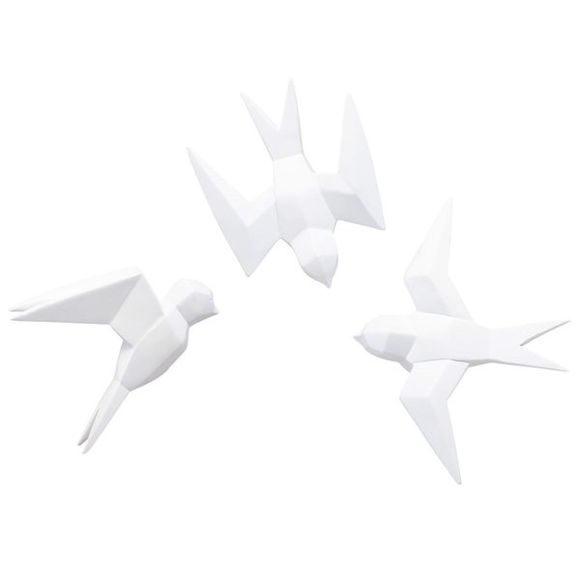 Pajaros Oragami De Pared Set De 3