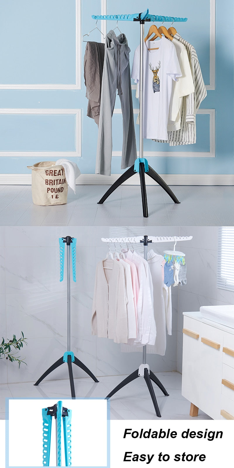 Home Best Portable Foldable  Clothing Hanging Rack For Clothes