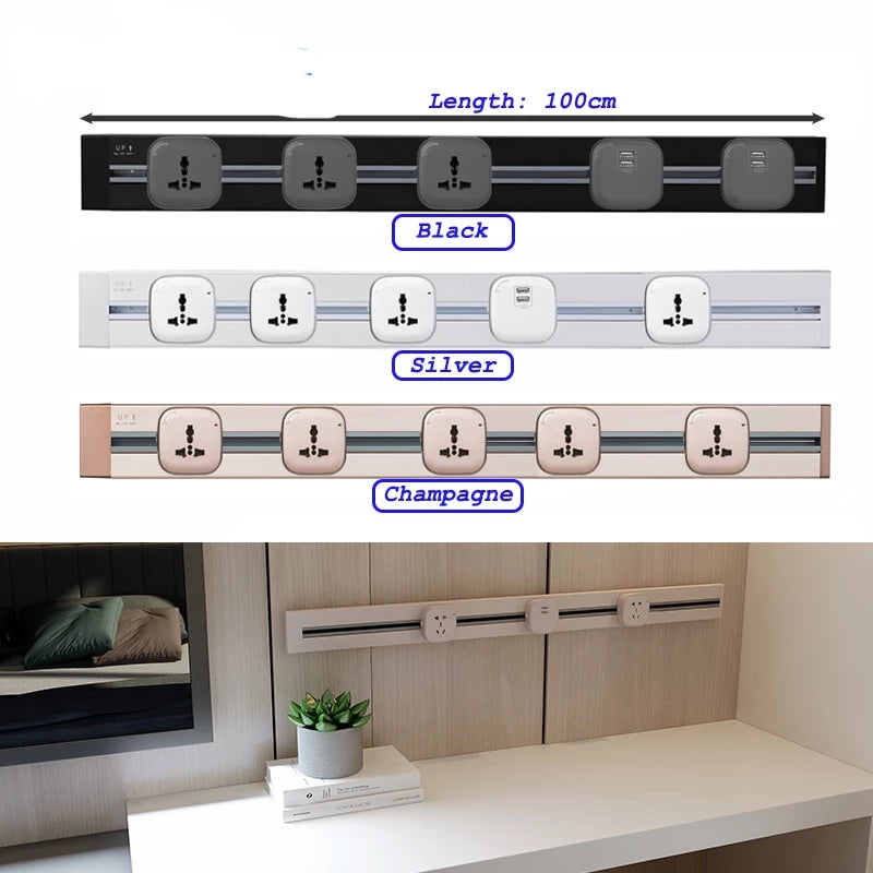 Home Best  Free Combination 100cm Length Universal socket 2 USB Ports Living Room Kitchen Plug Sockets