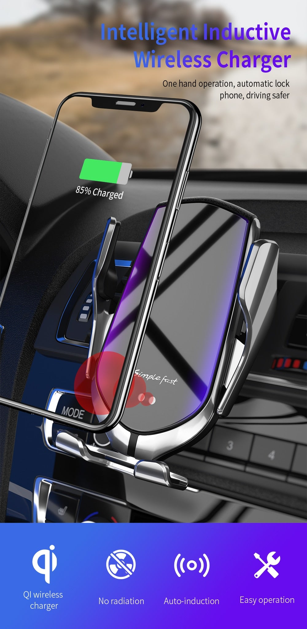 Home Best Automatic  Wireless Car Charger For iPhone XS XR X 8 11 Pro Samsung S10 S9 S8 Qi  Car Phone Holder