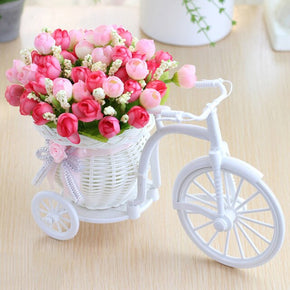 Home Best Rose Flowers+vase Set Rattan bicycle