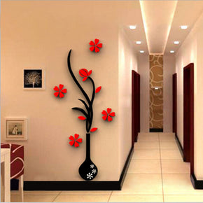 Home Red Flower Vase Wall Sticker