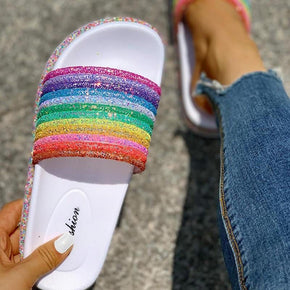 women Rainbow Bling Slippers